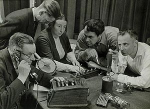 Recording a radio play. The Netherlands, [1949].