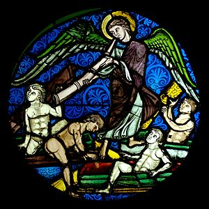 Resurrection of the dead. Stained glass, regio...