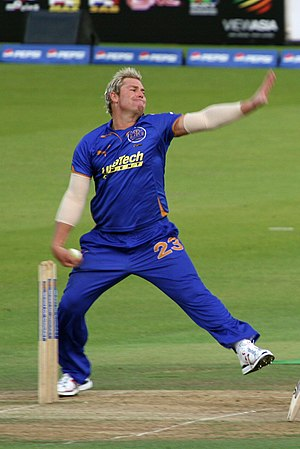 Shane Warne bowling for the Rajasthan Royals a...