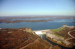 Aerial photo of Table Rock Dam and Lake