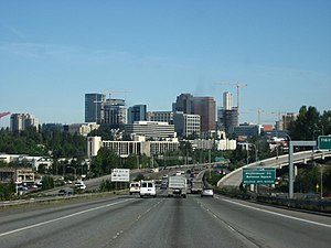 Interstate 405 approaching downtown Bellevue, ...