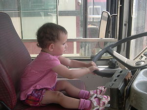 Children on the bus driver seat, Egged Bus Mus...