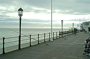 English: Fishing rods on Worthing Pier This pa...