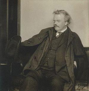 English: G. K. Chesterton, 1920s. Silver gelat...