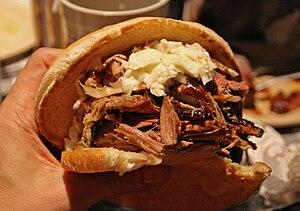 Jumbo sandwich, with slaw of course