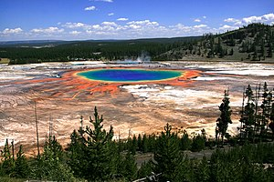 English: Grand Prismatic Spring and Midway Gey...