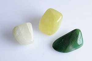 English: Jade, an ornamental stone. White and ...