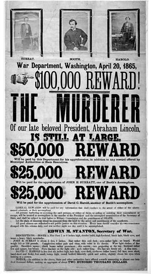 Broadside advertising reward for capture of Li...