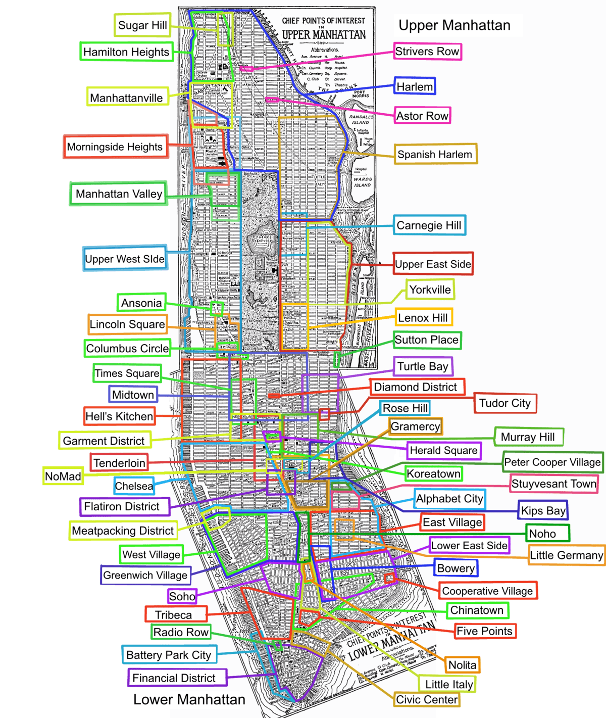 Zip Codes Map Manhattan Nyc