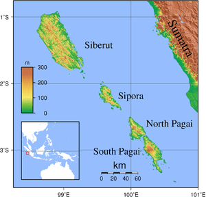 Topographic map of Mentawai Islands, Indonesia...