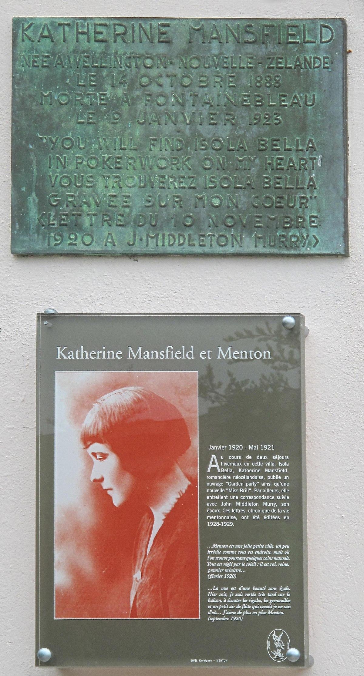 Je Suis Un Soir D été : été, File:Plaque, Katherine, Mansfield, (Menton).jpg, Wikimedia, Commons