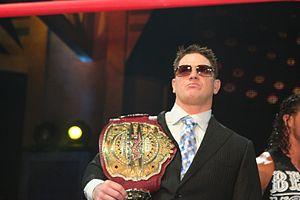 English: Professional wrestler A.J. Styles dur...