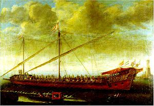 English: Spanish galley of the late reign of C...
