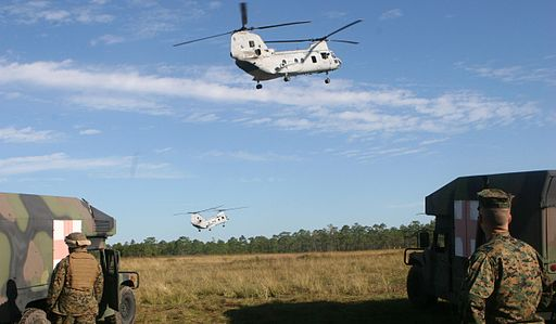 HMM-264 CH-46 during exercise at Camp Lejeune October 2007