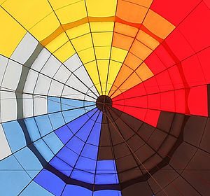 The inside of a hot air balloon's envelope, se...