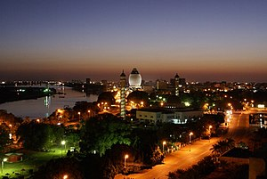 English: Khartoum downtown view at night