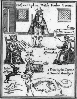 Frontispiece from Matthew Hopkins' The Discove...