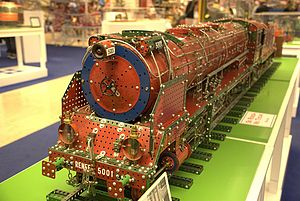 A model steam locomotive built with Meccano at...