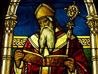 Detail of St. Augustine in a stained glass win...
