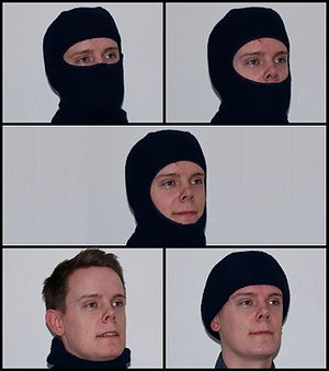 Different ways of wearing a balaclava.