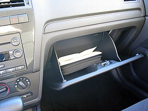 Glove box with owner's manual.