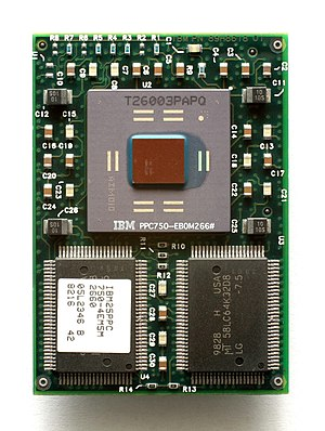 English: CPU IBM PowerPC 750.