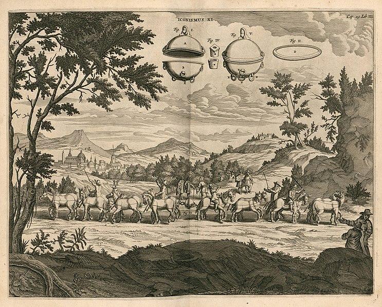 ภาพการสาธิต Magdeburg Hemispheres - ครึ่งทรงกลมแห่งมักเดเบอร์ก