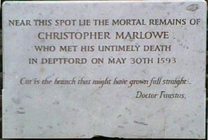 English: Christopher Marlowe's memorial IN the...