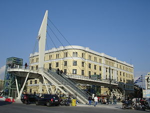 The footbridge outside of Piraeus Metro station