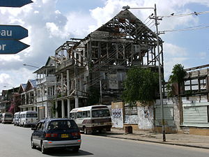 House gone to ruin in Paramaribo near Waterkan...