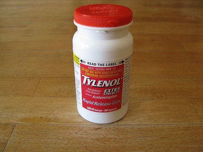 tylenol bottle closeup