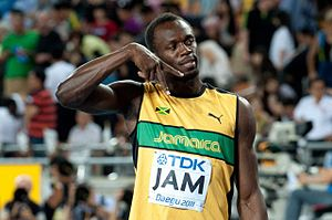 English: Usain Bolt after 4 x 100 m final - Wo...