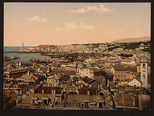 View towards the lighthouse, Genoa Italiano: V...