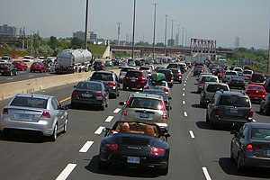 Traffic congestion along Highway 401