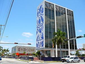 The Bacardi building in Midtown Miami from Bis...