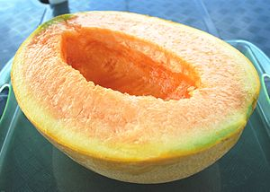 English: Half_cut_of_Yubari_melon 日本語: 夕張メロンのハ...