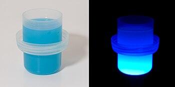 Liquid laundry detergent under ultraviolet lig...