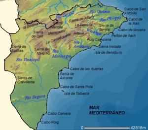 Mapa físico de la provincia de Alicante (España).