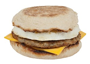 English: A Sausage Egg McMuffin from McDonald'...