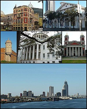 Montage of buildings in Mobile, Alabama. Top t...