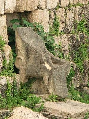 English: Astarte's throne at the Eshmun temple.