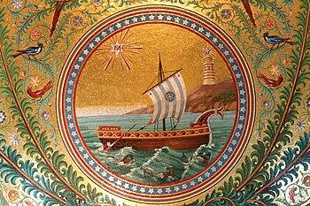 bateau dans la mosaïque du cul-de-four de l'ab...