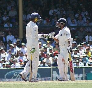 Sachin Tendulkar and an Indian teammate suppor...