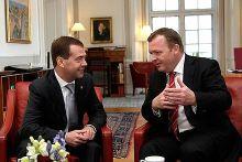 Lars Løkke Rasmussen and Russian President Dmitrij Medvedev in the Prime Minister's office at Christiansborg in Copenhagen, Denmark, 28 April 2010.
