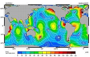 The M2 tidal constituent. Amplitude is indicat...
