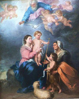 English: child Jesus with the virgin Mary, wit...