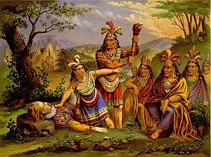 English: Artist depiction of Pocahontas saving...