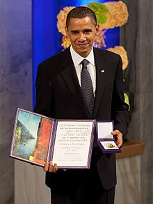 Barack Obama with the Nobel Prize.