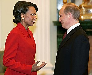 Rice speaks with Russian President Vladimir Pu...