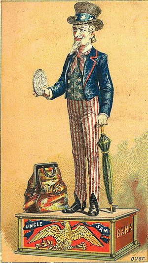 """Trade card of an """"Uncle Sam"""" toy sav..."""